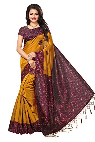 Mrinalika Fashion Women\'s Art Silk Saree With Blouse ( sarees below 500 rupees SRJK054_Yellow_Free Size )