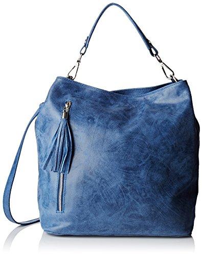 Chicca Borse Damen 80054 Shopper, 34x29x14 cm Blau (Blu Jeans)