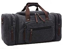 Limirror vintage Canvas Reisetasche Sporttasche weekender Tasche für Damen und Herren mit der Großen Kapazität (Schwarz)