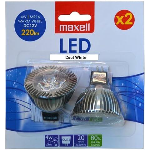 Maxell - Lampada a LED tipo spot 4W MR16 bianco freddo in pacchetto doppio