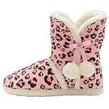 Dunlop, Stiefel-Hausschuhe, flauschig, warm, Pink - pink leopard - Größe: 40/41 EU