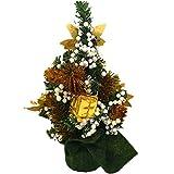 serliy Mini Weihnachtsbaum Dekoration Weihnachten Urlaub Dekorationen zarte Verzierungen (Gold)