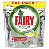 Fairy All-in-One Platinum Dishwasher Tablets Lemon, Brilliant Shine, Though Food and Greasy Filter Cleaning, XXL Pack, 70 Tablets