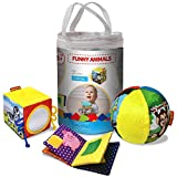 MACIK 3 FUNNY ANIMALS SET - New-Born baby GIFT SET - Baby Soft BOOK + Baby Activity CUBE Soft + Soft Rattle BALL for Toddler - Sensory Toy for Babies - Infant Toy - Baby Toy 6 months
