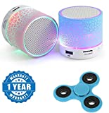 #1: Sony Xperia T2 Ultra Dual Compatible Certified Colorful LED Light Crack Pattern Mini Stereo Portable Wireless Bluetooth Speaker with New Fidget Hand Spinner for Fun, Anti-Stress, Focus, ADHD, Anxiety & Autism(1 Year Warranty)
