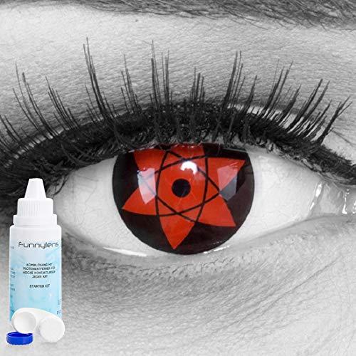 EIN PAAR Farbige Manga Anime Naruto Cosplay 14mm Kontaktlinsen \'Uchiha\' mit gratis Linsenbehälter und Kombilösung. Perfekt für Fasching!