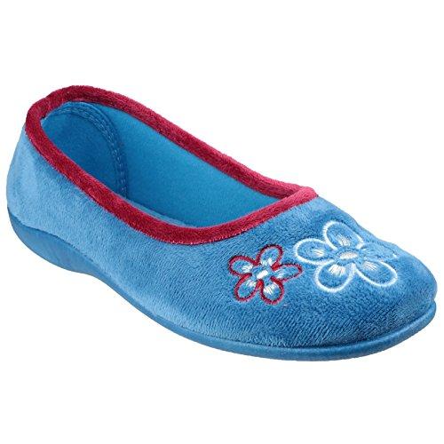 Mirak Damen Arles Hausschuhe mit Blumenmuster Blau