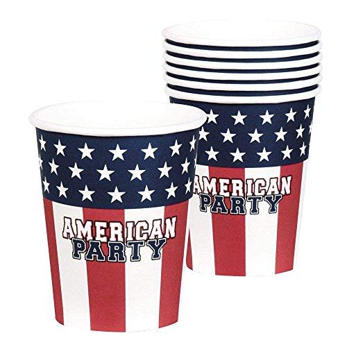 Neu: 6 Party-Becher * American Party * für Eine USA-Mottoparty | Amerika US Motto BBQ Barbecue Barbeque Pappbecher Partybecher Cups American-becher