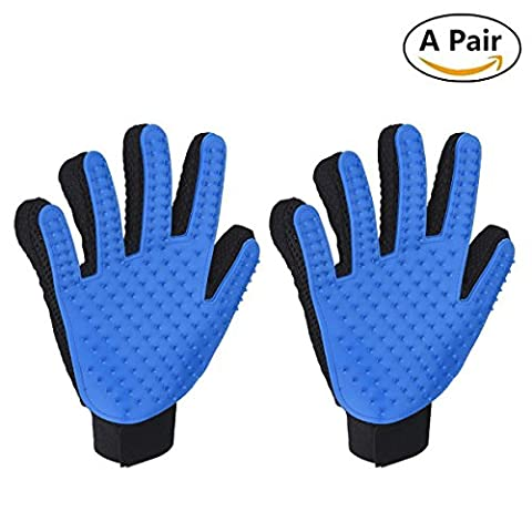 Pet Grooming Massage Brush Glove,YIGO 2Pcs Blue Dogs Rabbits & Gratifying Cats Grooming Gloves Hair Remover Brush Glove for Long and Short Hair (Pack of 2, Blue)