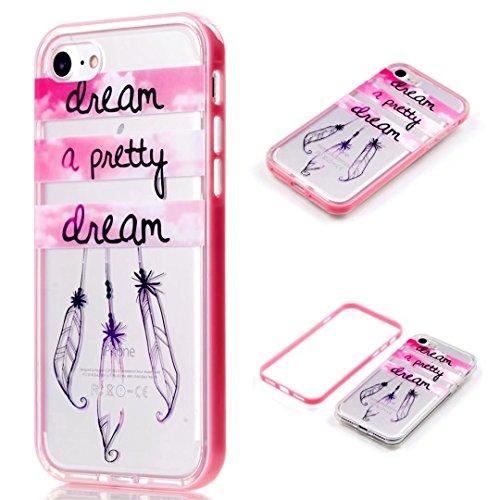 Hülle für iPhone 7 4.7 JINCHANGWU Telefon-Kasten Protective Shell Durchsichtige Rubber Silikon TPU ANTI-Verschleiß felxible Scratch-Resistant--rosa Campanula/a pretty dream (Sexy Tanz Tragen)