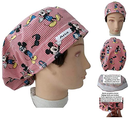 Surgical caps, Haube, kappe, Medizinische, küche, Für lange Haare. Mickey Maus. Mit Ihrem Namen auf freie Optionen. Haube Cap Haube