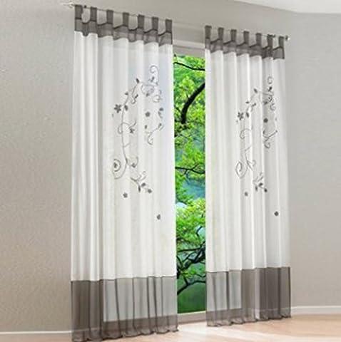 Souarts Grau Stickerei Transparent Gardine Vorhang Schlaufenschal Deko für Wohnzimmer Schlafzimmer Studierzimmer 140cmx175cm Nur Ein Schlaufenschal Ohne