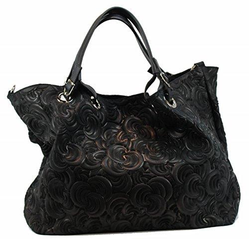 BZNA Bag Lea schwarz nero Italy Designer Damen Ledertasche Handtasche Tasche Wildleder Prägung Shopper Neu - Prada Shopper Tasche
