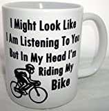 In My Head Im Riding My Bike Novelty Cycling Coffee Tea Mug