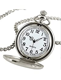 Outstanding® Negro de Lujo / de Plata Liso del Cuarzo del Reloj de Bolsillo Collar Colgante