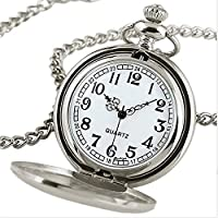 Outstanding® Black/Silver Smooth Quartz Pocket Watch Necklace Pendant