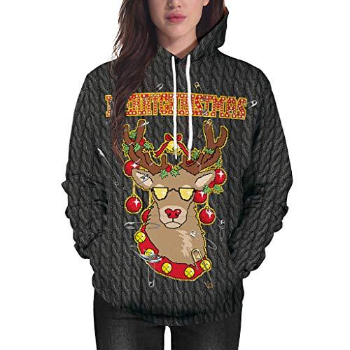 Eternali Weihnachten Lustige Hässlich Hooded Sweatjacke Weihnachts Rentier Drucken Pullover Sweater mit Kapuze Hoody Damen Frauen Xmas Lustig Funny Jumper Hoodie Sweatshirt Christmas Kapuzenpullover -