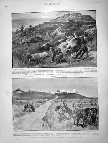 Nek 1901 de Scheeper de Guerre de Garnison de Vryheid d'Attaque de Boer par original old antique victorian print