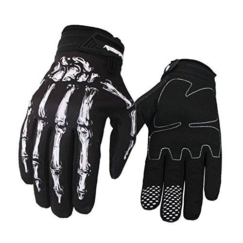Etbotu Protezione motocross, Guanti moto, Guanti invernali, Guanti in pelle da motociclista impermeabili termici stampa scheletro 3D alla moda, Bianco M