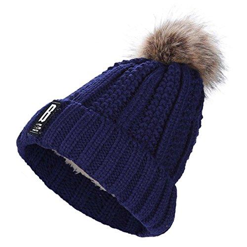 Pom Poms Beanie für Frauen - AWAYTR Damen Winter Warm Pom Ball Hüte Kappe Mütze Strickmütze Mode Gestrickt Einfarbig(Marineblau) (Damen Ball-kappe)