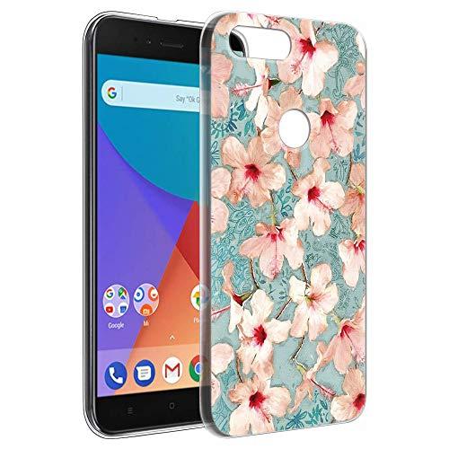 Pnakqil Funda Xiaomi Mi A1, Silicona Transparente con Dibujos Diseño Slim Gel TPU Antigolpes Ultrafina de Protector Piel Case Cover Cárcasa Fundas para Movil Xiaomi MiA1, Azafrán Blanca