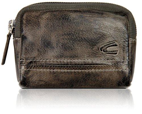 Original 'Camel Active' Estuche para llaves fabricado de cuero auténtico con bolsillo para monedas y compartimento para tarjetas, grande, cartera para llaves para mujeres y hombres, antracita