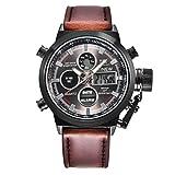 DOGZI Herren Armbanduhr, Uhren Sport Uhr Luxus Armbanduhren - Quarz Sport Militär Armee LED Uhren Analog Edelstahl Armbanduhr (Kaffee B)