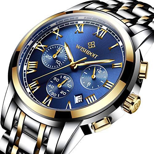 WISHDOIT Herren-Armbanduhr wasserdicht Top-Marke Mode Sport-Chronograph analog Quarz blaues Zifferblatt Kalender für Herren Business Casual Armbanduhr Gold Blau