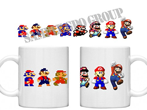 Mario, Mario Bros, Mario Frères, Super Mario, GPO Groupe exclsuive Design Super Mario Bros, Evolution de Mario, Passe au micro-ondes et au lave-vaisselle Tasse Mug 30cl