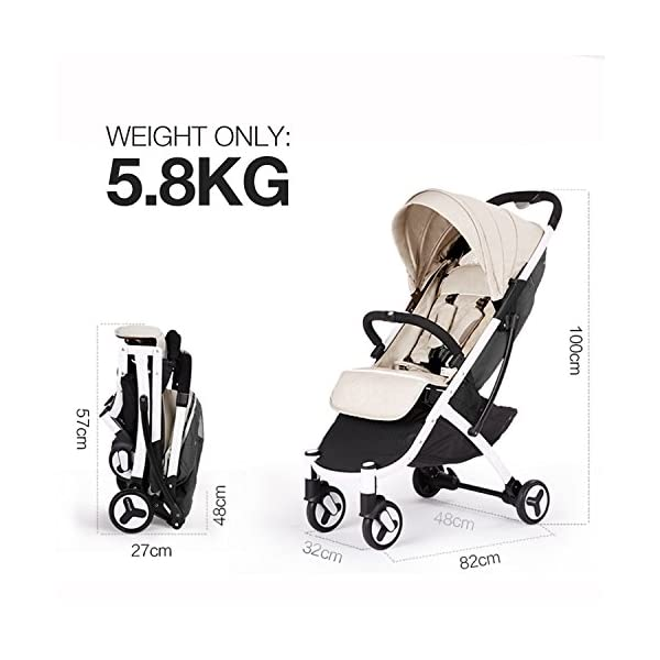 Allis Lightweight Baby Pram Pushchair Buggy Travel Stroller Plume - Beige  Made according to British Standard EN1888, Fabrick OKo-Tex standard 100 and Fire Safety Regulations 1988. Lockable 360 swivel wheels, removable and suspension Lightweight 5.8Kg only, Easy to fold with one hand only 4