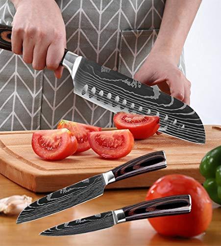 "YUANYUAN520 Knife 8""Zoll Japanische Küchenmesser Laser Damaskus Muster Kochmesser Sharp Santoku Cleaver Slicing Allzweckmesser Werkzeug EDC (Color : 5 PCS Value Set)"