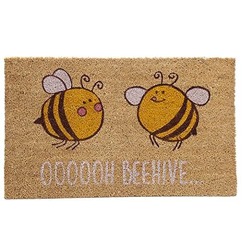 Kokosfaser Bunt Freundlicher strapazierfähige Gummi Rückseite Fußmatte Biene oooooh Beehive natur Kokosfasern Indoor & Outdoor Decor