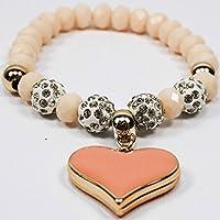 Bracciale per donna elastico con ciondolo a cuore di colore Rosa