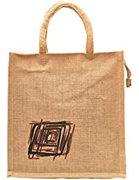 Natural Color Square Swirl Design Rope Handle Jute Burlap Lunch Tiffin Outdoor Handbag Bag Working Office Bag...