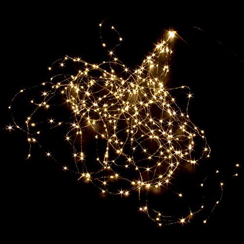 Weiße Led-licht-strang (200cm LED Lichterbündel Lichterdraht Copper Light mit 360 warm weissen Micro LED`s Licht Draht Girlande)