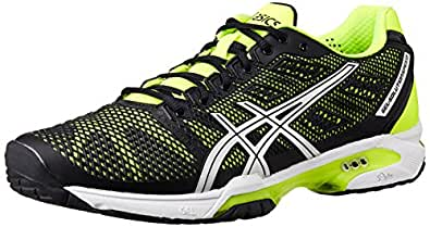 ASICS Men's Gel-Solution Speed 2 Onyx, Flash Yellow and Silver Synthetic Tennis Shoes - 8 UK