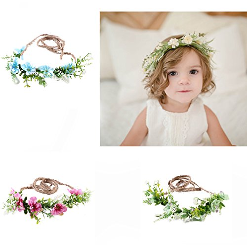Tieback Flower Crown Flower Headband Baby Girl Toddler Woodland Green Leaf Floral Crown Wreath