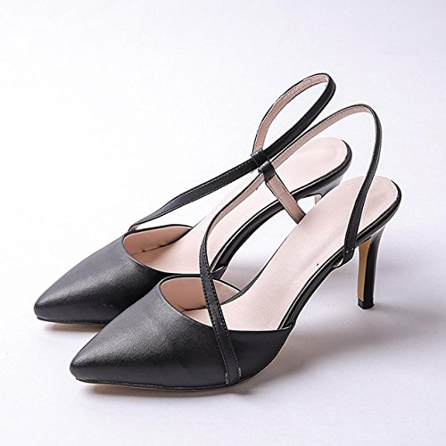 WSS chaussures à talon haut Jeune coréenne très bien avec les sandales Chaussures simple Black