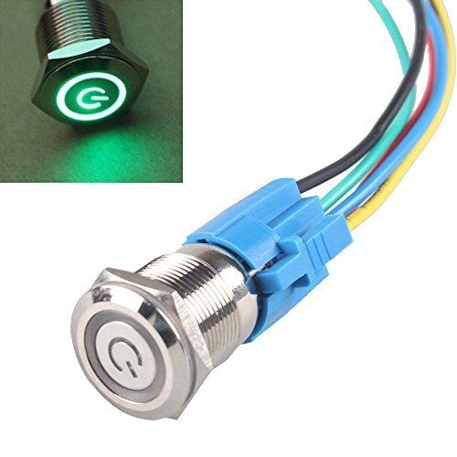 e support 19 mm 12 V 5 A Puissance Symbole œil d'ange Halo de voiture Bleu Rouge Vert Blanc Violet lumière LED Métal Bouton poussoir Interrupteur à bascule Socket Fil de fiche
