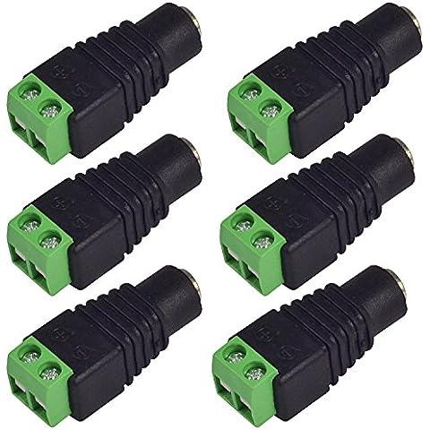 MENGS®–6pezzi DC 5.5mm x 2.1mm DC 12V cavo di alimentazione femmina Adattatore maschio femminile presa per CCTV fotocamera