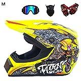 KiGoing Integral-Helm Motorrad-Helm Full-face-Helm Cross-Country-Motorrad-Helm-Straßenrennhelm-Set...