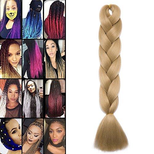 Extension treccia per capelli treccine braiding hair una ciocca 100g, 24# biondo chiaro