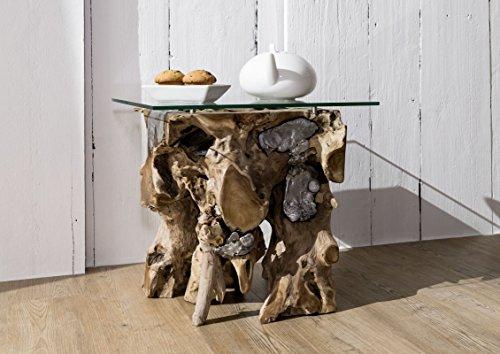Table basse vitrée - Aluminium et racine d'arbre de teck - Design moderne et naturel - UNIKA #107