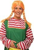 Balinco Pippi Langstrumpf Perücke mit Zöpfen (mit integriertem Draht zum biegen) in orange Fasching Karneval
