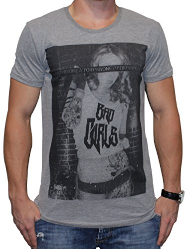 40by1, Herren T-Shirt, Bad Girls, Grey, 40/1-14-058-g, GR XL