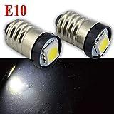 Ruiandsion E10 LED-Leuchtmittel DC 6 V 0,5 W 6000 K Weiß 5050 1SMD LED Birne für Taschenlampe Taschenlampe Scheinwerfer Negative Erde (2 Stück)