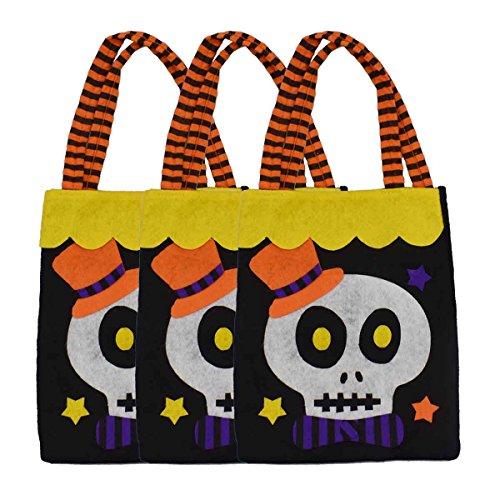 XONOR 3 Stück Halloween-Tragetaschen - Large 39cm - Wiederverwendbare Lebensmittelgeschäft-Süßigkeit-Kürbis-Taschen-Taschen für Partei-Bevorzugungs-Dekoration (Skelett)