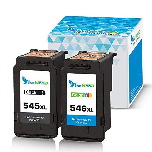 Inkwood - Cartucce per stampante Canon PG-545 CL-546 XL, per Canon Pixma MG2555S TS205 3150 3151 MX495 TR4550 MX490 iP2850 MG3051 MG2450 MG2950 MG2550 MG3050, 1 nero, 1 colore