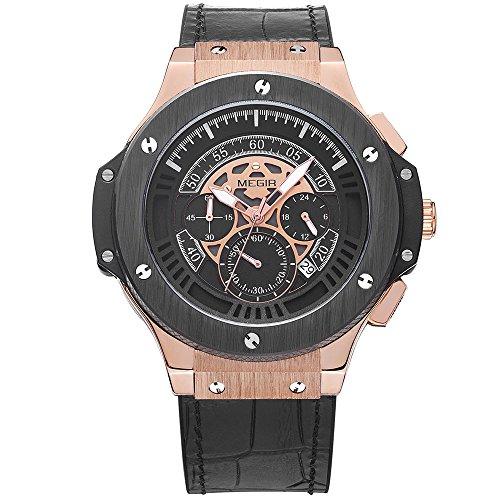 MEGIR Relojes Lujo Hombre Grande Oro rosa Analógico de cuarzo, cuero clasico negro, cronógrafo y resistente al agua