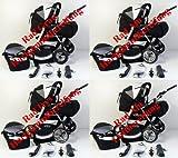 3 in 1 Kombikinderwagen Komplettset VIP – inkl. Kinderwagen, Babyschale und Sportwagen Aufsatz – 1. ALU Hartgummi Bereifung – 33. Schwarz - 2